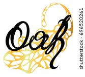 logo oak leaf and handwritten... | Shutterstock .eps vector #696520261
