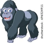 cartoon silverback gorilla | Shutterstock .eps vector #696524911