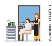 isolated hairdressing salon... | Shutterstock . vector #696527641