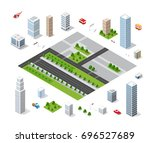 set of isometric objects and... | Shutterstock .eps vector #696527689