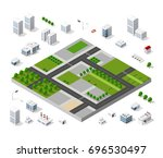 set of isometric objects and... | Shutterstock .eps vector #696530497
