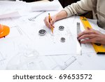 construction drafts and tools... | Shutterstock . vector #69653572