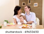 young family at home having... | Shutterstock . vector #69653650