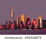manhattan skyline at sunset.... | Shutterstock .eps vector #696536875