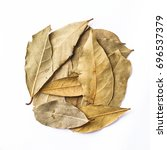 bay leaves isolated on white... | Shutterstock . vector #696537379