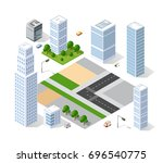 set of isometric objects and... | Shutterstock .eps vector #696540775