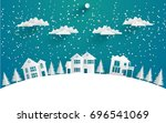 views of the house in winter.... | Shutterstock .eps vector #696541069