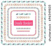 hand drawn set of doodle border ... | Shutterstock .eps vector #696549835
