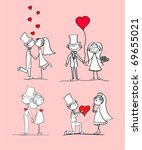 set of wedding pictures  bride... | Shutterstock .eps vector #69655021