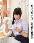 cute asian thai high school...   Shutterstock . vector #696550225
