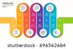 vector 7 steps winding colorful ... | Shutterstock .eps vector #696562684