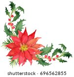 christmas bouquet with... | Shutterstock . vector #696562855