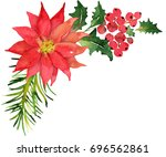 christmas bouquet with... | Shutterstock . vector #696562861