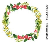 christmas wreath with twigs and ... | Shutterstock . vector #696564529