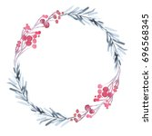 christmas wreath with twigs and ... | Shutterstock . vector #696568345