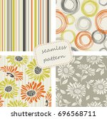 set of 4 vintage seamless... | Shutterstock .eps vector #696568711