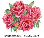 bouquet of beautiful roses and... | Shutterstock . vector #696572875