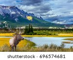 grandiose landscape in the... | Shutterstock . vector #696574681