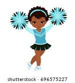 cheerleader in turquoise... | Shutterstock .eps vector #696575227
