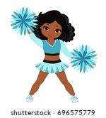 cheerleader in turquoise... | Shutterstock .eps vector #696575779
