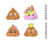 poop emoji stickers. unicorn... | Shutterstock .eps vector #696576931