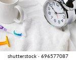 equipment for brushing your... | Shutterstock . vector #696577087