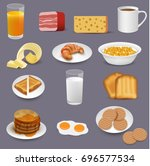 morning food and drinks symbols ... | Shutterstock .eps vector #696577534