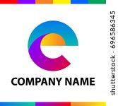 bold letter e logo design.... | Shutterstock .eps vector #696586345