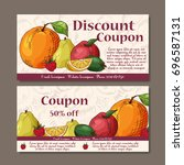 cafe discount voucher for your... | Shutterstock .eps vector #696587131