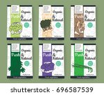 set of colorful vector hand... | Shutterstock .eps vector #696587539