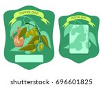 olive oil front and back label  ... | Shutterstock .eps vector #696601825