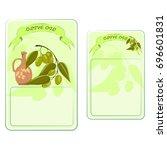 olive oil front and back label  ... | Shutterstock .eps vector #696601831