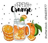 the poster with the orange... | Shutterstock .eps vector #696605977