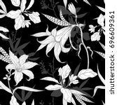 black and white flowers pattern ... | Shutterstock . vector #696609361