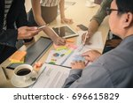 brainstorming group of people... | Shutterstock . vector #696615829
