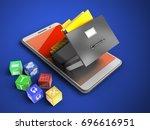 3d illustration of white phone... | Shutterstock . vector #696616951