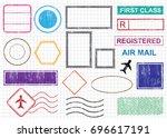 blank postal stamps set... | Shutterstock .eps vector #696617191