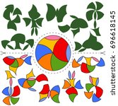 vector tangram vietnamese... | Shutterstock .eps vector #696618145