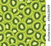 kiwifruit slices   seamless... | Shutterstock .eps vector #696618439
