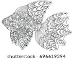 zentangle doodle patterned... | Shutterstock .eps vector #696619294