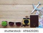 passport  airplane  sunglasses  ...   Shutterstock . vector #696620281