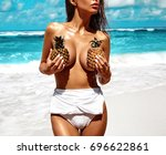 portrait of beautiful caucasian ... | Shutterstock . vector #696622861