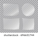 set of vector shiny glass... | Shutterstock .eps vector #696631744
