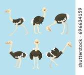 cute ostrich cartoon collection ... | Shutterstock .eps vector #696634159