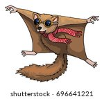 flying squirrel with aviation... | Shutterstock .eps vector #696641221