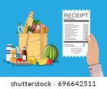 hand with receipt. shopping... | Shutterstock .eps vector #696642511