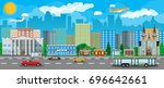 city view. cityscape. office... | Shutterstock .eps vector #696642661