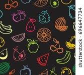 pictograph of fruits pattern... | Shutterstock .eps vector #696647734