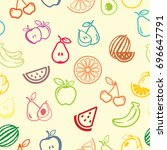 pictograph of fruits pattern... | Shutterstock .eps vector #696647791
