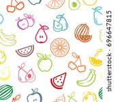 pictograph of fruits pattern... | Shutterstock .eps vector #696647815